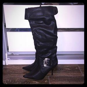 Like New Stiletto Boots 6 1/2 Rhinestone Knee High